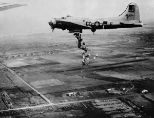 U.S. Air Force plane dropping food into the Nazi-occupied Netherlands in 1945 (National Archives)