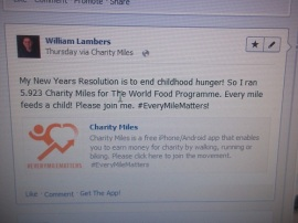 "tweet2568FlagPost a commentWilliam LambersWilliam Lambers, Yahoo! Contributor NetworkJan 29, 2013 ""Share your voice on Yahoo! websites. Start Here.""Using Charity Miles you can raise money for the World Food Programme just by running, walking or biking. Your results are posted to your Facebook page."