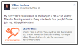 You can run, walk or bike and raise money for Feeding America using the Charity Miles free application